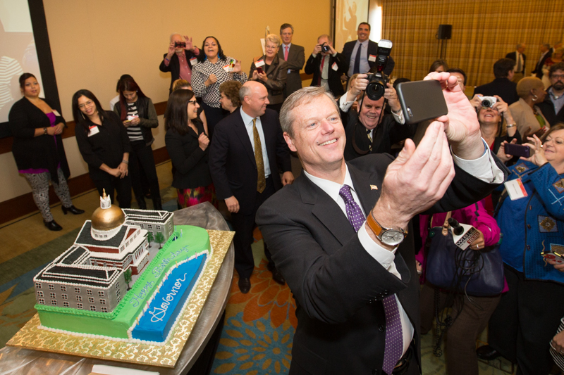 Mass Governor-Elect Charlie Baker Surprised with Golden Dome Birthday Cake