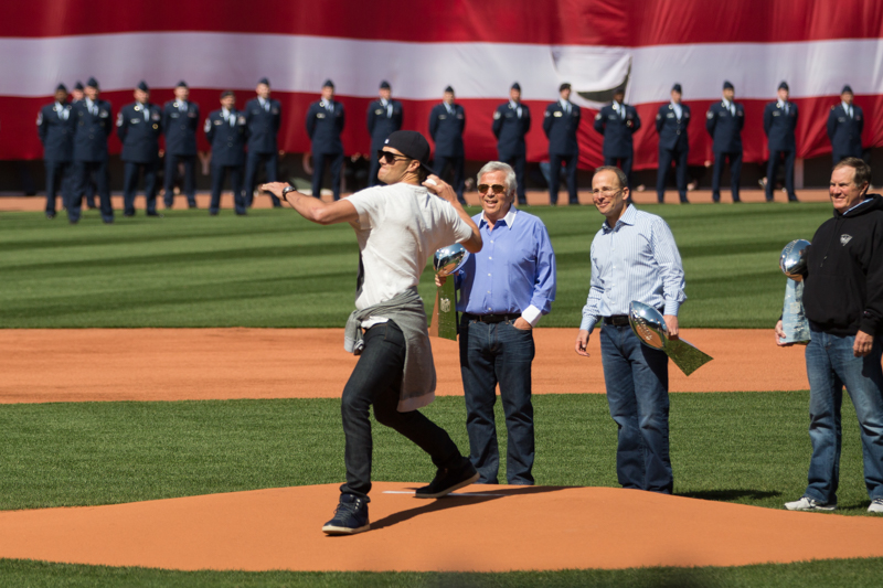 Tom Brady Throws Ceremonial First Pitch at Red Sox Opening Day 2015